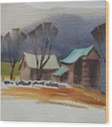 Vermont Barns  Sketch Wood Print