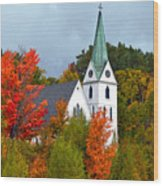 Vermont Church In Autumn Wood Print by Catherine Sherman