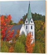 Vermont Church In Autumn Wood Print