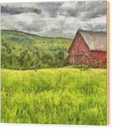 Vermont Farm Landscape Pencil Wood Print