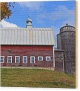 Vermont Farm Woodstock Vt Red Barn Wood Print