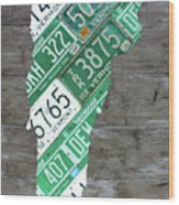 Vermont License Plate Map Art Edition 2017 Wood Print