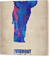 Vermont Watercolor Map Wood Print