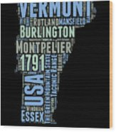 Vermont Word Cloud 1 Wood Print