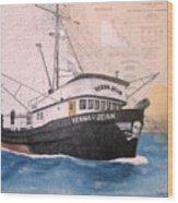 Verna Jean Fishing Boat Nautical Chart Map Wood Print