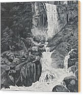 Vernal Falls Black And White Wood Print