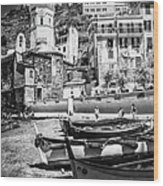 Vernazza Boats And Church Cinque Terre Italy Bw Wood Print
