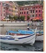 Vernazza Fishing Boats Wood Print