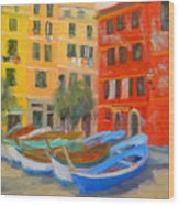 Vernazza Fleet Wood Print