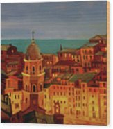 Vernazza Twilight Wood Print