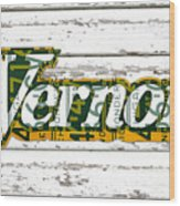Vernors Beverage Company Recycled Michigan License Plate Art On Old White Barn Wood Wood Print