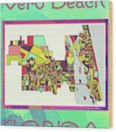 Vero Beach Map4 Wood Print
