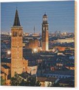 Verona At Night Wood Print