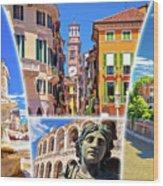 Verona Colorful Tourist Landmarks Postcard  Wood Print