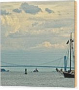 Verrazano Bridge With Schooner Wood Print