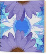 Vertical Daisy Collage Wood Print