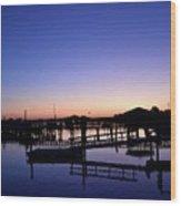 Vertical Pre-dawn Stillness At The Marina 13670 Wood Print