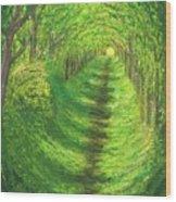 Vertical Tree Tunnel Wood Print