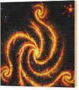 Very Big Red Gold Spiral Galaxy Wood Print