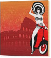 Vespa Girl Wood Print