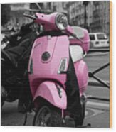 Vespa In Pink Wood Print by Edward Myers