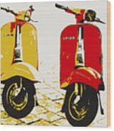 Vespa Scooter Pop Art Wood Print by Michael Tompsett