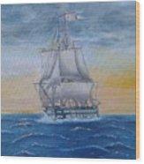 Vessel At Sea Wood Print