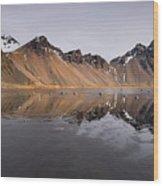 Vestrahorn Mountain In Stokksnes Iceland Wood Print