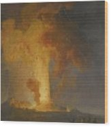 Vesuvius Erupting At Night With Spectators In The Foreground Wood Print