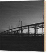 Veterans Memorial And Rainbow Bridges Wood Print