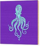 Vibrant Blue Octopus Beach House Coastal Art Wood Print