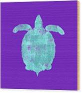 Vibrant Blue Sea Turtle Beach House Coastal Art Wood Print