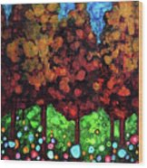 Vibrant Forest Wood Print