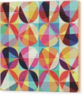 Vibrant Geometric Abstract Triangles Circles Squares Wood Print