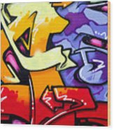 Vibrant Graffiti Wood Print by Richard Thomas