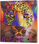 Vibrant Leopard Painting Wood Print