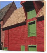 Vibrant Red And Green Building Wood Print