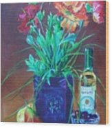 Vibrant Still Life Paintings - Poppies With Fruit And Wine - Virgilla Art Wood Print