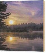 Vibrant Sunrise On The Androscoggin River Wood Print