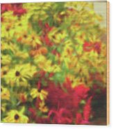 Vibrant Yellow Daisies And Red Garden Flowers Wood Print