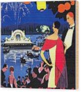 Vichy, Firework At Celebration Night Wood Print