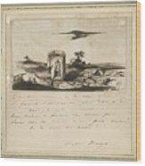 Victor Hugo   Landscape   1837 Wood Print