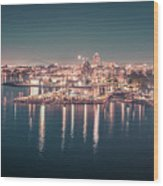 Victoria British Columbia City Lights View From Cruise Ship Wood Print