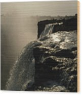 Victoria Falls And Zambezi River Shot Wood Print by Jason Edwards