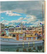 Victoria Harbor old boats Wood Print