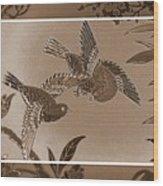 Victorian Birds In Sepia Wood Print