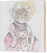 Victorian Cat In Purple Wood Print