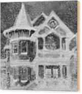 Victorian Christmas Black And White Wood Print