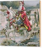 Victorian Christmas Card Depicting Saint Nicholas Wood Print