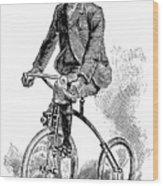 Victorian Gentleman Cycling Wood Print